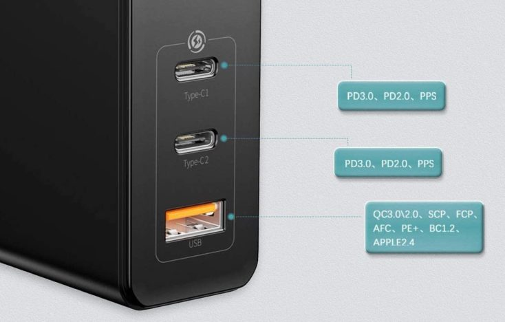 Baseus 120W USB-C Ladegeraet Ports