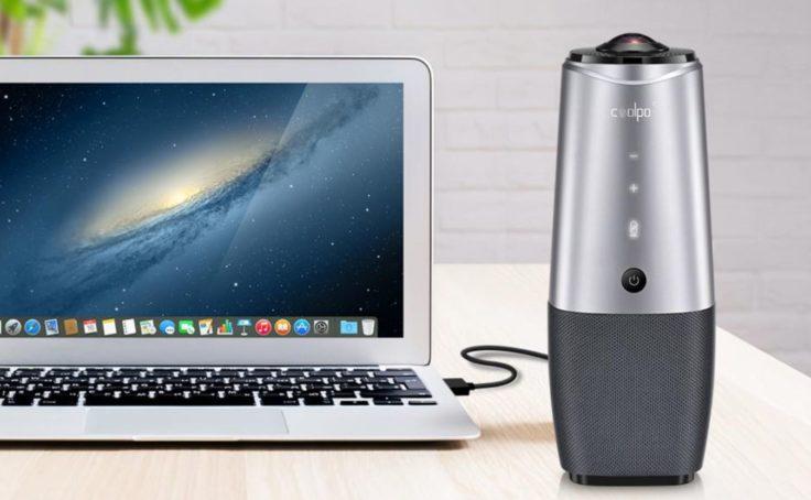 COOLPO 360°-Videokonferenzkamera am Laptop