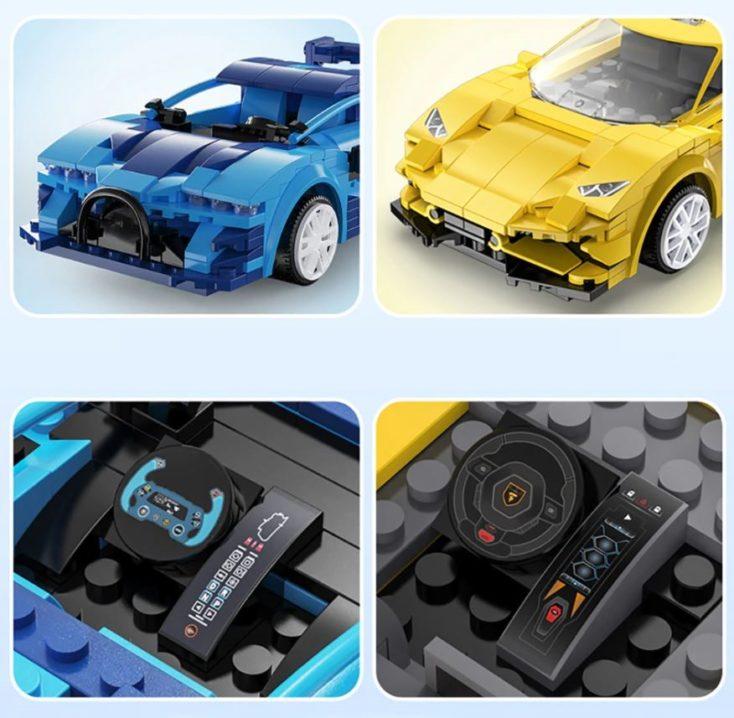 CaDA Mini Sportwagen ferngesteuert blau und gelb Details