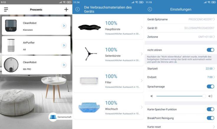 Proscenic M6 Pro Saugroboter App Einstellungen
