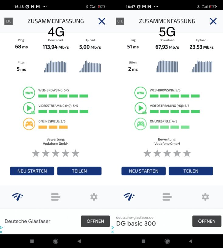Redmi Note 9T Speedtest lokal 4G vs 5G