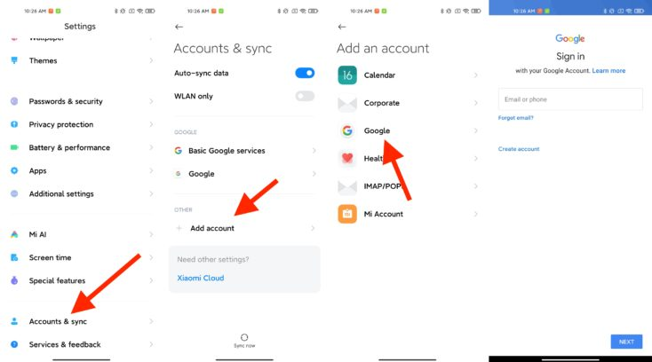 Xiaomi Mi 11 Google Account hinzufuegen