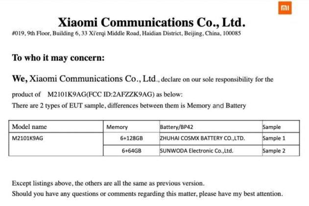 Xiaomi Mi 11 Lite FCC Zertifizierung
