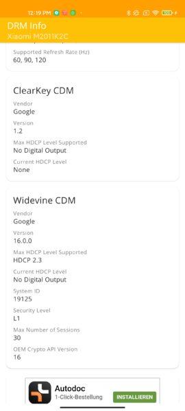 Xiaomi Mi 11 Widevine Level 1
