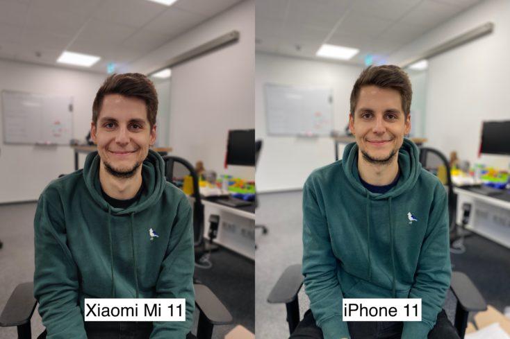 Xiaomi Mi 11 vs iPhone 11 Tesfoto Portraitkamera Person 1