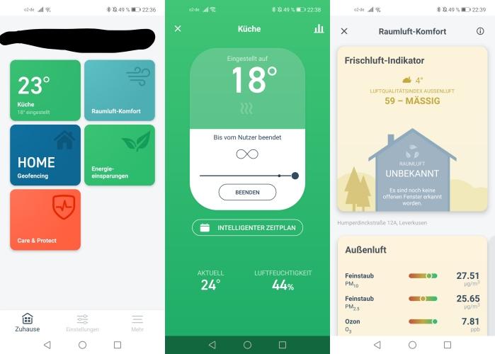 tado smartes Thermostat App Einbindung Interface