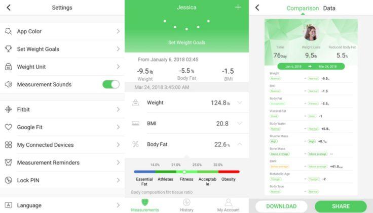 Arboleaf smarte Waage App Einstellungen