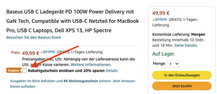 Baseus 100W Ladegeraet Gutschein Amazon