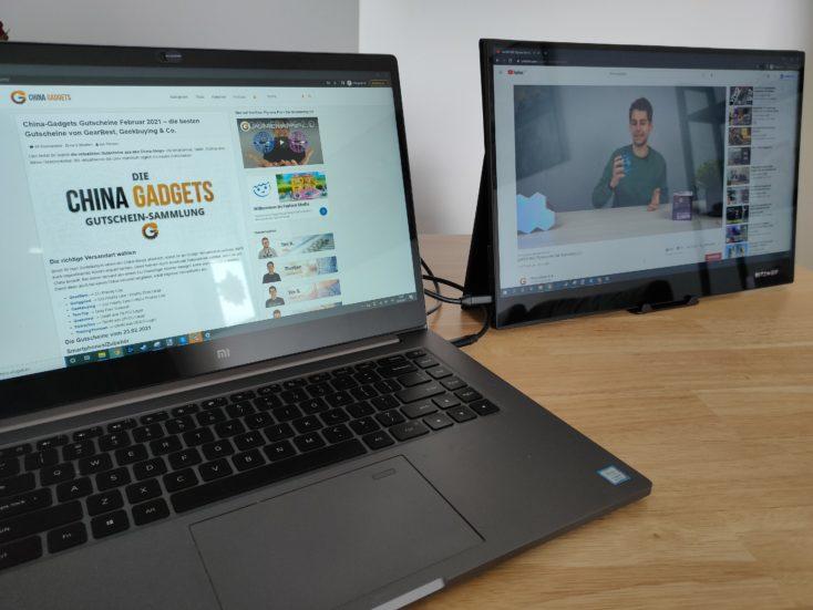 BlitzWolf BW PCM6 Monitor am Laptop