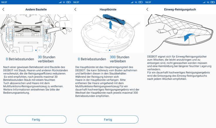 Ecovacs Deebot N8 Pro+ Saugroboter App Verschleißteile Zustand