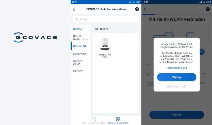 Ecovacs Deebot N8 Pro+ Saugroboter App Registrierung
