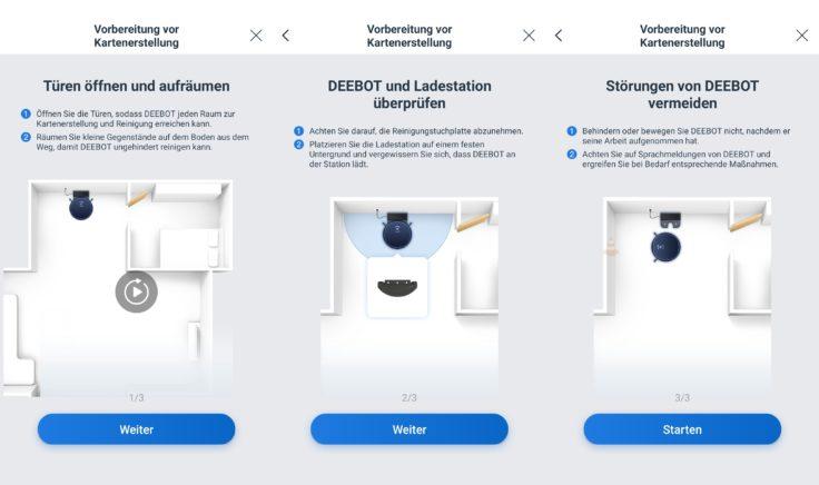 Ecovacs Deebot N8 Pro+ Saugroboter App Einstellungen vor Reinigung