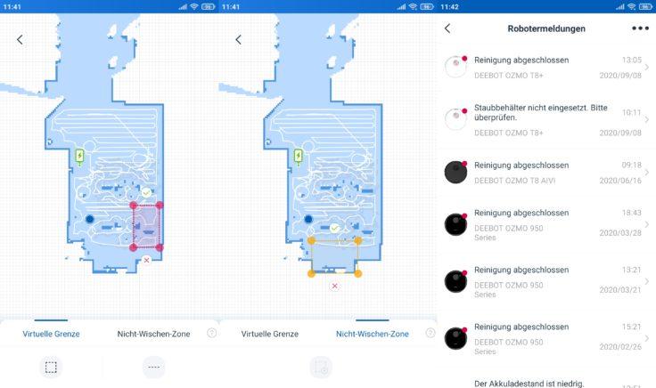 Ecovacs Deebot N8 Pro+ Saugroboter App No-Go-Zonen
