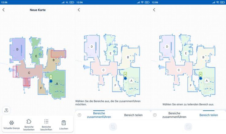 Ecovacs Deebot N8 Pro Saugroboter selektive Raumeinteilung Bereiche teilen zusammenfuehren
