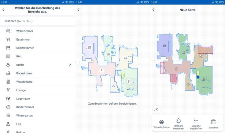 Ecovacs Deebot N8 Pro Saugroboter selektive Raumeinteilung Icons vergeben