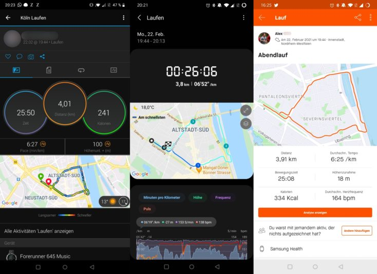 Samsung Galaxy Watch 3 Laufen vs Garmin Strava