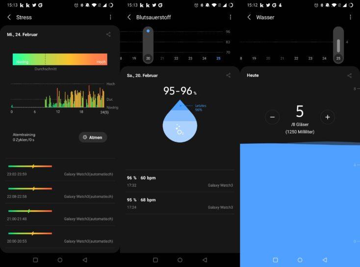 Samsung Galaxy Watch 3 Stress Blutsauerstoff Wasser