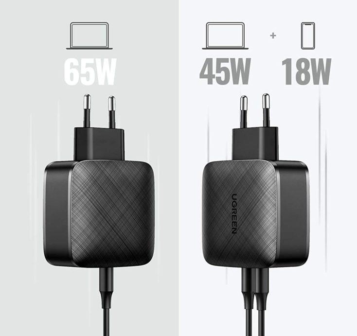 UGREEN 65W USB-C Ladegeraet Aufteilung