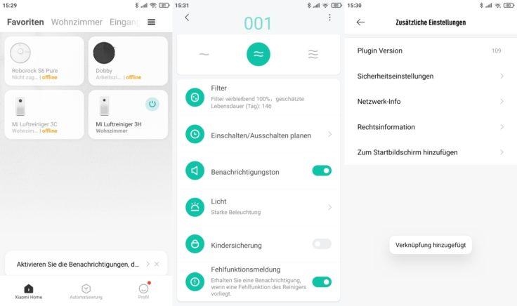 Xiaomi Mi Air Purifier 3H 3C Luftreiniger App Einstellungen