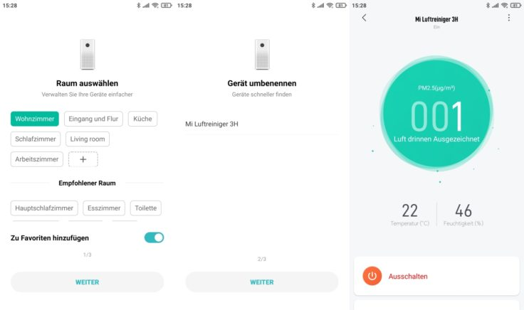 Xiaomi Mi Air Purifier 3C Luftreiniger App Interface