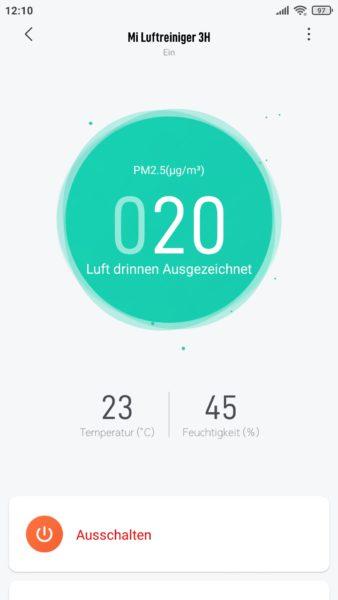Xiaomi Mi Air Purifier 3H 3C Luftreiniger App Darstellung