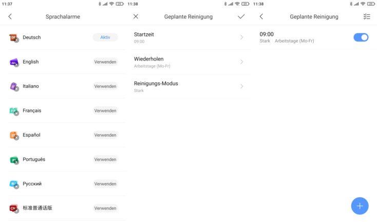 Xiaomi Mi Robot Vacuum Mop 2 Pro Saugroboter App Sprache Arbeitszeiten einplanen