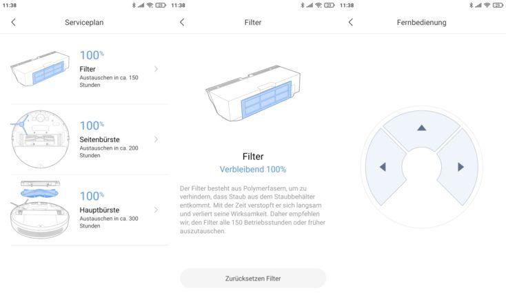 Xiaomi Mi Robot Vacuum-Mop 2 Pro+ Saugroboter Einstellungen Zustand Verbrauchsmaterialien