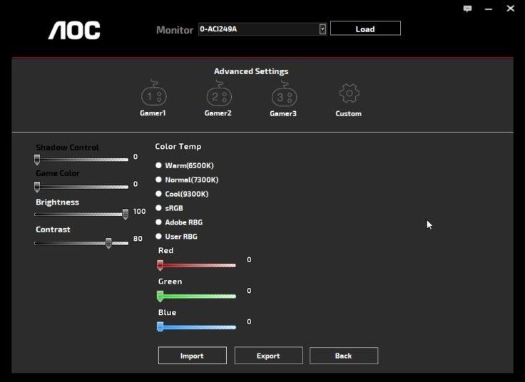 AOC AG273QCX Monitor G-Menu