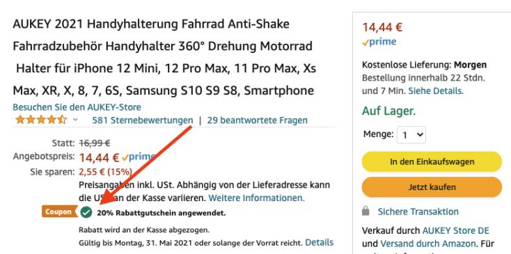 Aukey KFz Halterung Amazon Gutschein