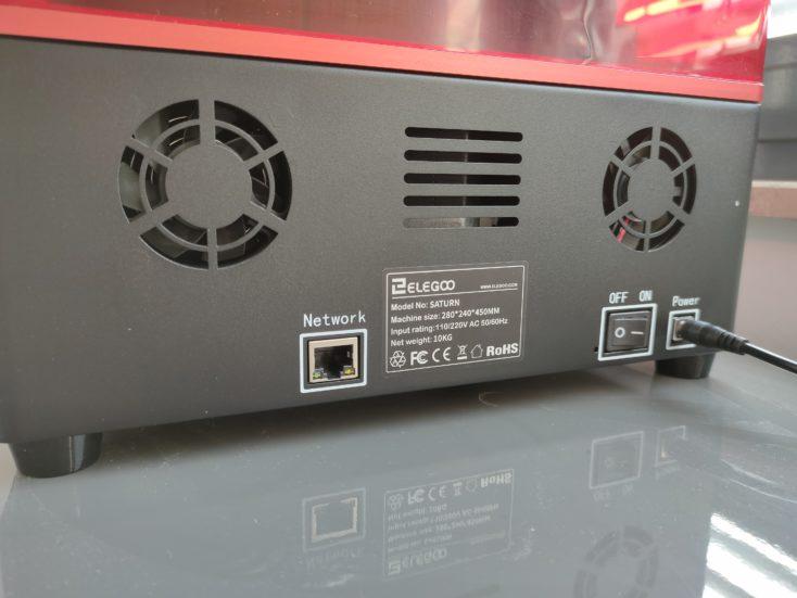 Elegoo Saturn 3D-Drucker Rueckseite mit Luefter