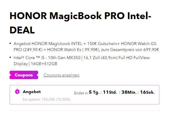 Honor Magicbook Coupon