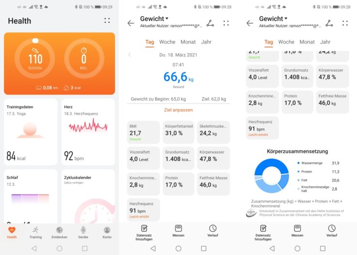 Honor Scale 2 smarte Waage Huawei Health App