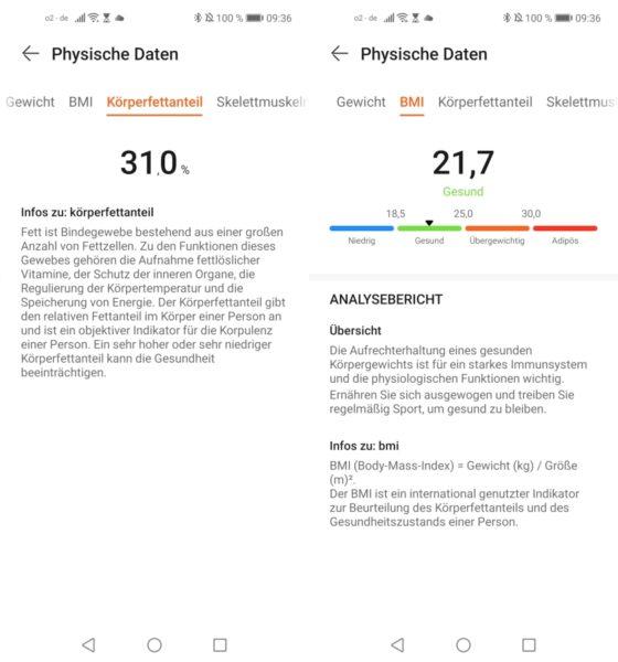Honor Scale 2 smarte Waage Huawei Health App Daten Messergebnisse