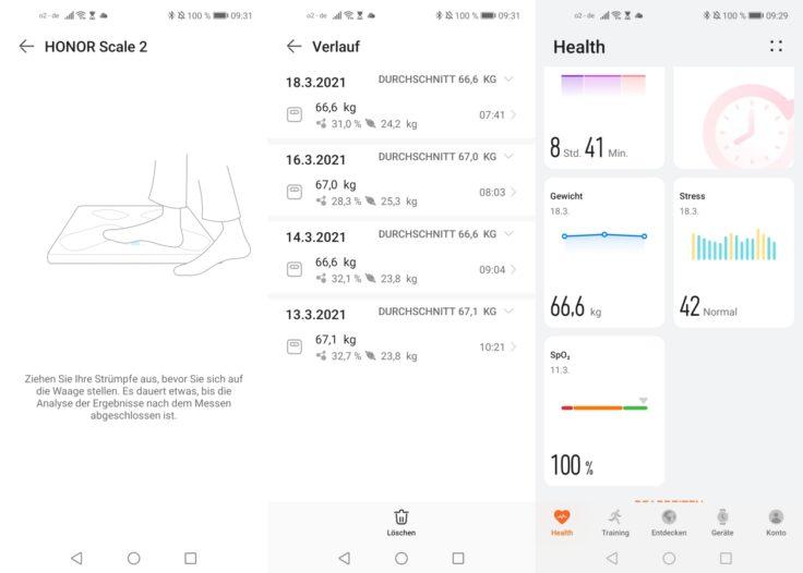 Honor Scale 2 smarte Waage Huawei Health App Messergebnisse