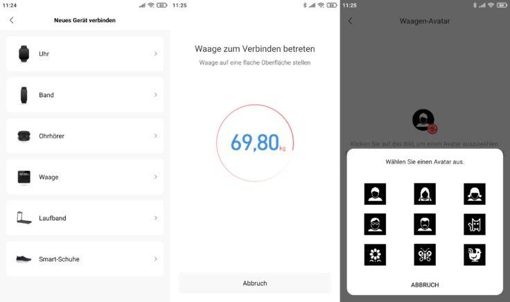 Amazfit Smart Scale smarte Waage Anzeigen App