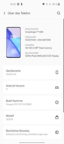 OnePlus 9 Betriebssystem