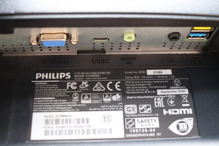 Philips 273B9 Monitor Anschlüsse rechts