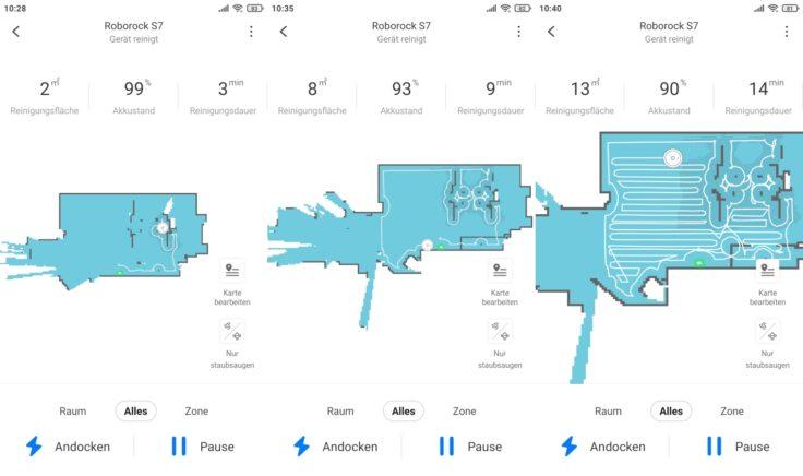 Roborock S7 Saugroboter App Beginn Mapping Arbeitsweise
