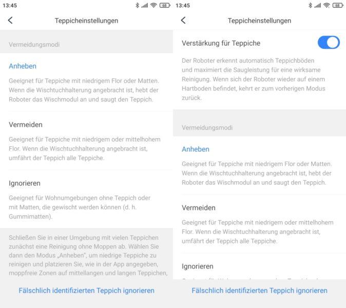 Roborock S7 Saugroboter App Einstellungen Umgang mit Teppichen