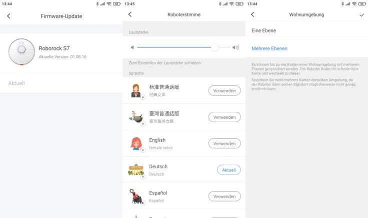 Roborock S7 Saugroboter App Einstellungsmoeglichkeiten Sprache Firmware-Updates Kartenspeicherung