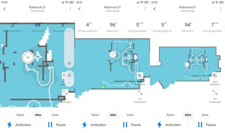 Roborock S7 Saugroboter App Teppicherkennung Teppich eingezeichnet