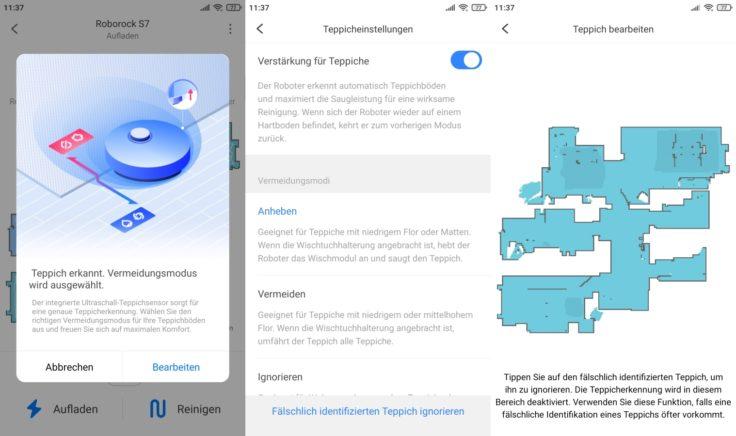 Roborock S7 Saugroboter App Umgang mit erkannten Teppichen