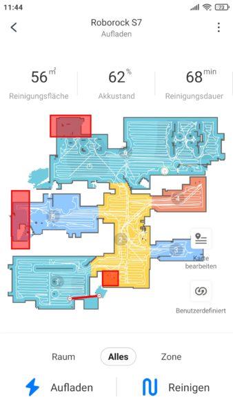 Roborock S7 Saugroboter App Zuhause vier Waende