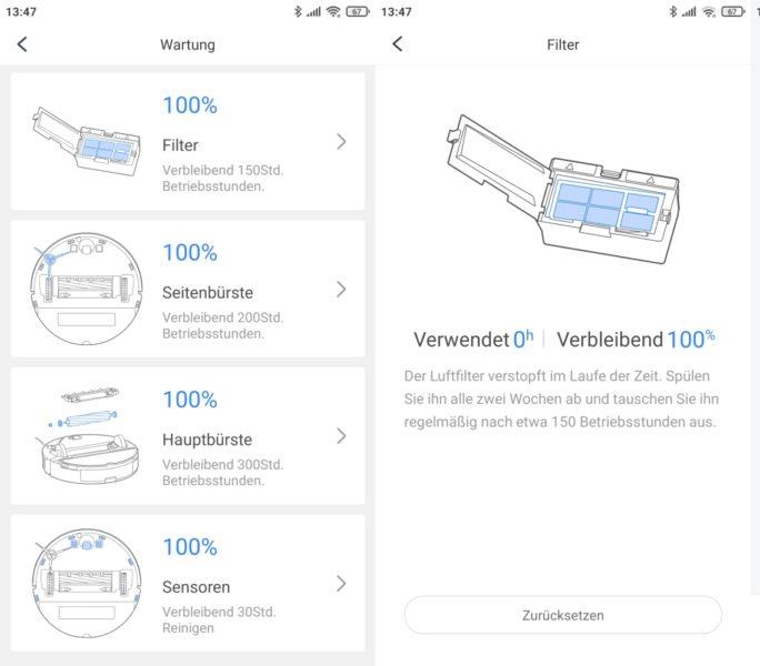 Roborock S7 Saugroboter App Zustand Verschliessteile Wartung Pflege