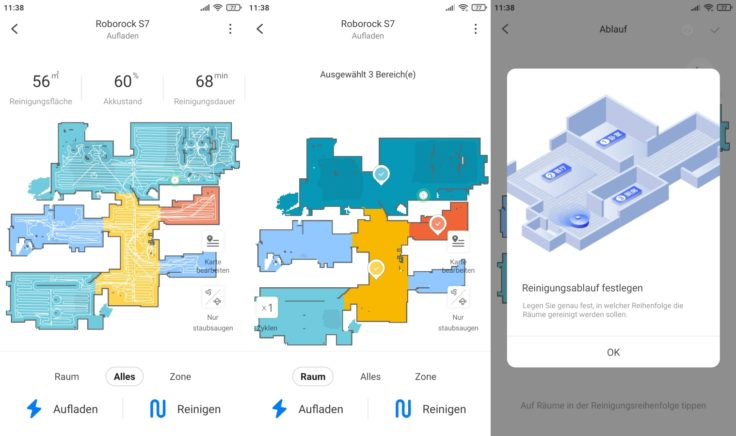 Roborock S7 Saugroboter App selektive Raumeinteilung