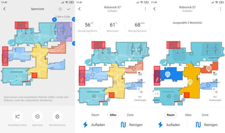 Roborock S7 Saugroboter App selektive Raumeinteilung Bereiche