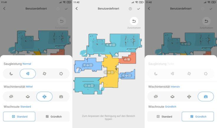 Roborock S7 Saugroboter App selektive Raumeinteilung individuell einstellbar
