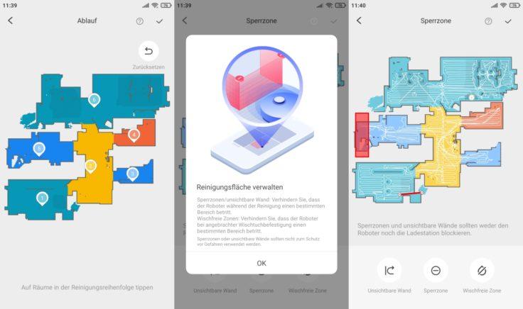 Roborock S7 Saugroboter App selektive Raumeinteilung virtuelle No-Go-Zonen Waende