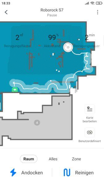 Roborock S7 Saugroboter Wischen Route auf Karte