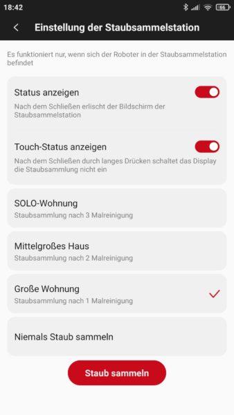 Roidmi EVE Plus Saugroboter Xiaomi Home App Einstellungen Absaugstation